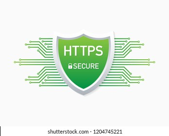 HTTPS Protocol. Safe and Secure Web sites on the Internet. SSL certificate for the site. Advantage TLS.  stock illustration.