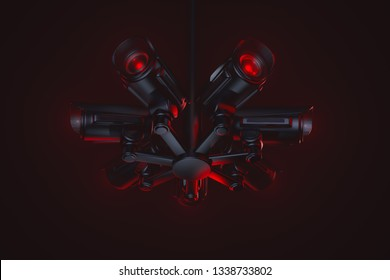 Hub of hostile looking recording equipment. Society under control of AI (artificial intelligence). Obey, pay taxes, reproduce or face consequences. 3D rendering