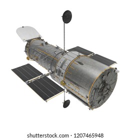 Hubble Space Telescope Isolated On White Backgrouns. 3D Illustration