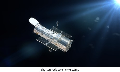 Hubble Space Telescope lit by the Sun (3d render, elements of this image are furnished by NASA)