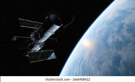 Hubble telescope in orbit of the Earth,  Hubble Space Telescope 3d render.
