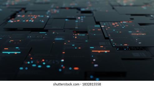 HUD Data User Interface. Programmieren von Quellcode abstrakter Hintergrund. cyber-Technologie futuristische Daten auf einem Bildschirm. Code, Nummern, Binär, Namen. 3D-Darstellung