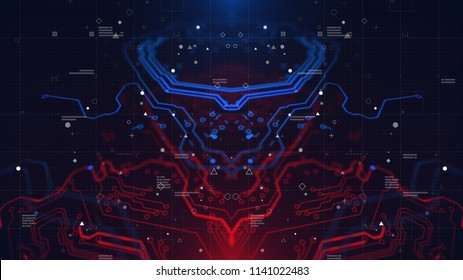 HUD interface. Head up display.  Mirrored pattern. Blue, red background with digital integrated network technology. Printed circuit board. Technology background. Neon. 3D illustration. Computer infogr