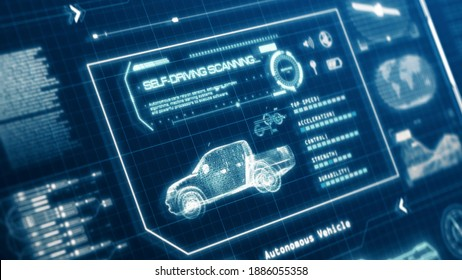 HUD self-driving vehicle pickup truck car specification scanning test user interface on computer screen pixel display panel background. Blue hologram holographic sci-fi tech concept. 3D illustration