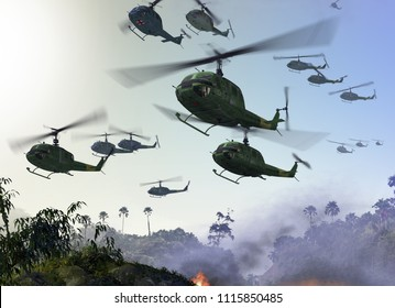 Huey Military Helicopters flying over a jungle environment during the Vietnam War. 3d render illustration