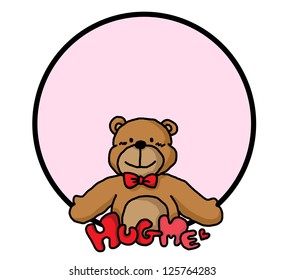 Hug Cute Bear in pink bubble