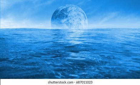 huge alien moon rising over the ocean of a distant planet (3d render)