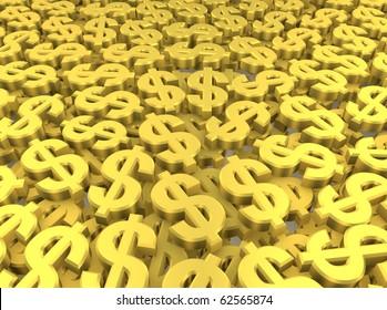 Huge amount of golden dollar symbols. 3d rendered image