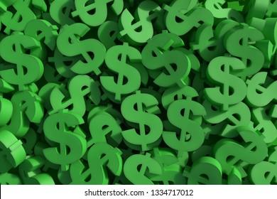 Huge amount of green dollar symbol, 3d render illustration