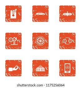 Huge amount of money icons set. Grunge set of 9 huge amount of money icons for web isolated on white background