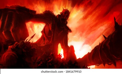 A huge army of wild tribes, among them a huge humpbacked giant with a large club, against the backdrop of a bright fiery sunset. 2D illustration