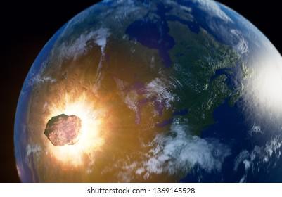 Huge asteroid impacting Earth - 3D illustration