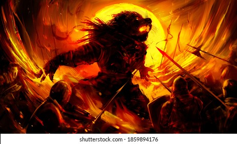 A huge beast-man in the heat of battle fiercely crumples with clawed paws against the background of a rich yellow sun, he is surrounded by a human army of spearmen in armor. 2D illustration.
