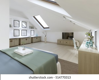 Huge bedroom on the loft in a modern style. With TV unit, Desk and drawers with shelves for books. 3D render.