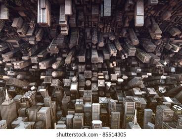 huge bended city