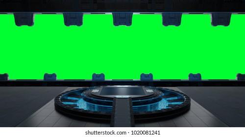 Huge blueish landing strip spaceship interior isolated on green background 3D rendering