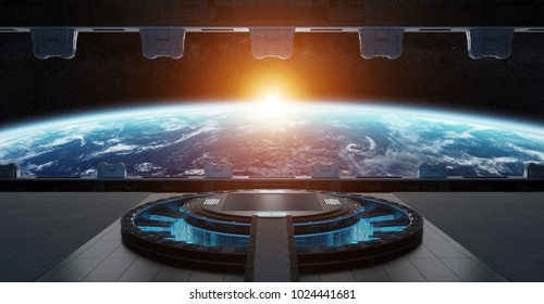 Huge blueish landing strip spaceship interior 3D rendering elements of this image furnished by NASA
