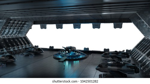 Huge blueish landing strip spaceship interior isolated on white background 3D rendering