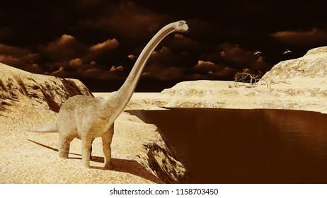 Huge diplodocus on barren land 3d rendering