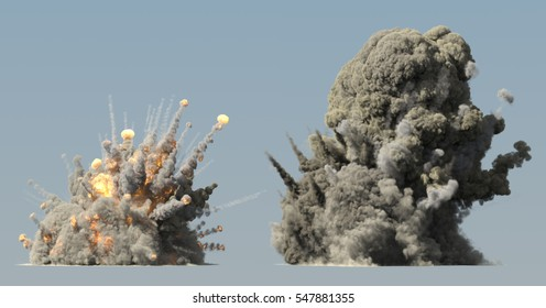 Huge explosion 3d illustration