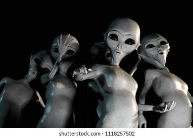 huge group of gray aliens 3d illustration
