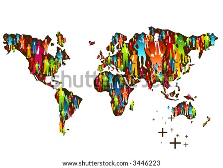 Huge Map Of The World.Huge Group People Making Map World Stock Illustration 3446223