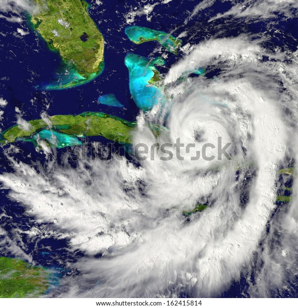 Huge hurricane approaching Florida in America. Elements of this image furnished by NASA