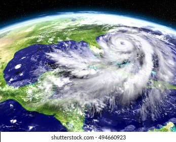 Huge hurricane seen from Earth's orbit above Florida in America. 3D illustration. Elements of this image furnished by NASA