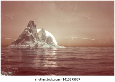 huge iceberg at the sunset low poly 3d illustration