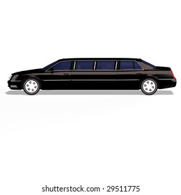 huge limo with black windows with Clipping Path
