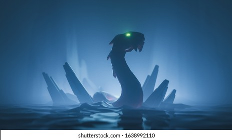 Huge medieval snake with glowing green eyes floating on water with sharp rocks in night scene in blue tones. Mythical creature. 3d illustration in low-poly style of the game location of the final boss