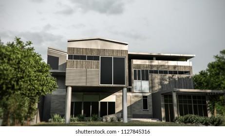huge modern house 3d illustration