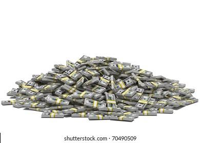 Huge pile of hundred dollar bill stacks, isolated on white.