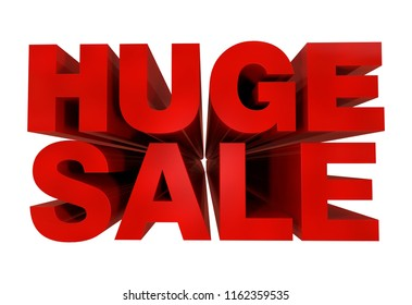 Huge Sale in 3D  - 3D Render in Red - Letters in 3D Isolated