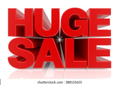 HUGE SALE word on white background 3d rendering