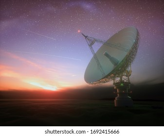 Huge satellite antenna dish for communication and signal reception out of the planet Earth. Observatory searching for radio signal in space at sunset. 3D illustration.