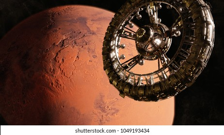 huge space station in orbit of the red planet Mars (3d science fiction illustration, elements of this image are furnished by NASA)