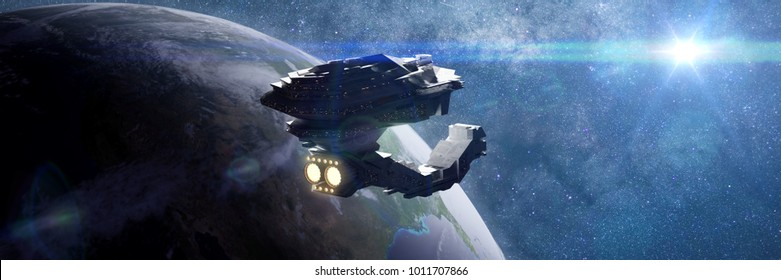 huge spaceship in orbit of planet Earth, spacecraft in outer space (3d science fiction illustration banner, elements of this image are furnished by NASA)