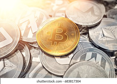Huge stack of cryptocurrencies with a golden bitcoin on the front as the leader and sun flare as optimistic prediction. Bitcoin as most important cryptocurrency concept. 3D render