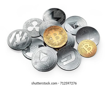 Huge stack of cryptocurrencies with a golden bitcoin on the front. Isolated on white background. 3D illustration