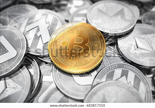 Huge stack of cryptocurrencies with a golden bitcoin on the front as the leader. Bitcoin as most important cryptocurrency concept. 3D render