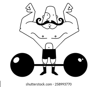 Huge, strong, bald circus athlete with dark twirled mustaches showing of his strength. Contour lines raster illustration isolated on white