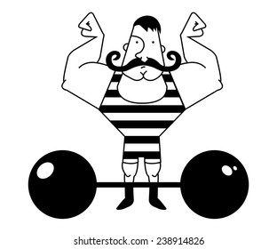 Huge, strong circus athlete with dark twirled mustaches showing of his strength. Black and white illustration isolated on white