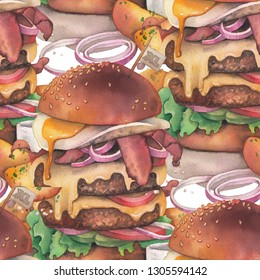 Huge watercolor burger with two cutlets, bacon, cheees, onion, sauces and scrambled eggs with idaho potatoes as a garnish. Hand painted seamless pattern