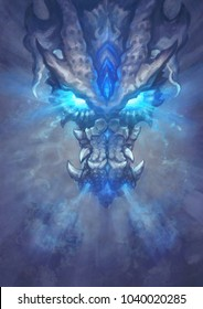 A huge white dragon in the fantasy style. Glowing eyes look predatory and dangerous