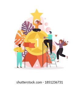 Huge winner medal with ribbon and happy tiny business people celebrating, illustration. Winner people team success concept for web banner, website page etc.