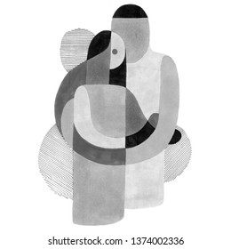 Hugging couple in abstract style. Hand-drawn raster illustration family in unusual modern art style.
