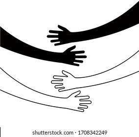 Hugging hands. Arm embrace, belief togetherness unique relationship hugged hands isolated concept