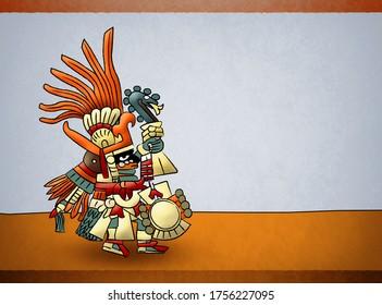 Huitzilopochtli Mayo Azteca Deity God of Sun Illustration.