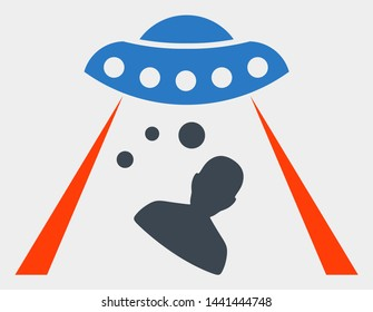 Human abduction raster pictograph. Illustration contains flat human abduction iconic symbol isolated on a white background.